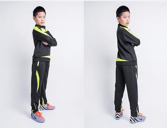 2016 Sport Running Football Sets Long Jacket Suit Kids Soccer Training Pants Survetement Leg boys Pantalon Tracksuits Sportswear