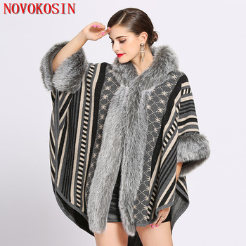 2019 Oversize Women Printed Designer Female Long Sleeves Knitted Sweater Cardigan With Hat Winter Faux Rabbit Fur Poncho sc387 2019 winter faux rabbit fur women cape poncho knitted sweater long faux cashmere big fur neck plus size cardigan coat