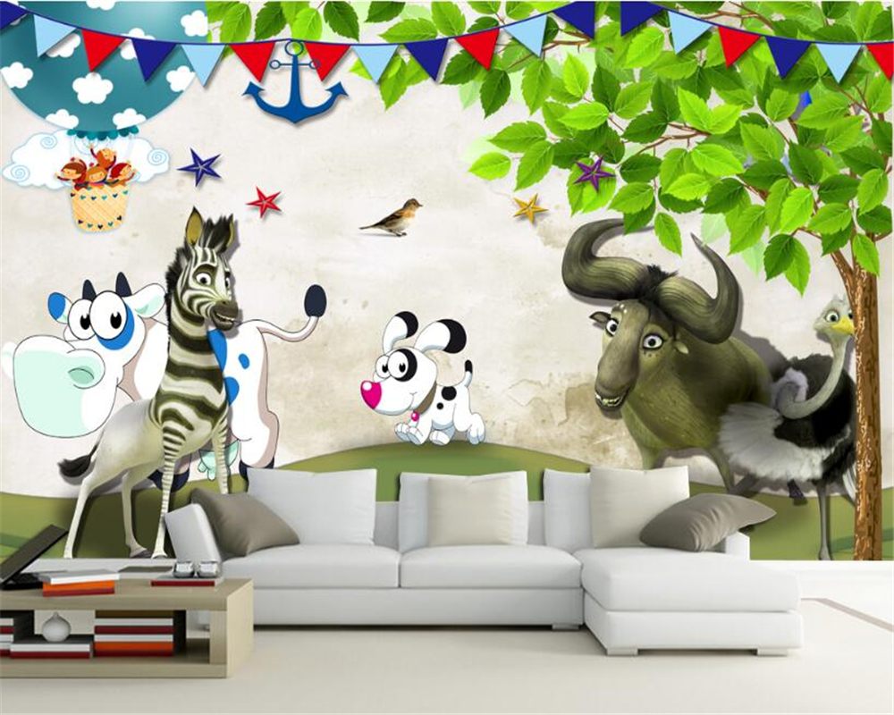 beibehang Senior Fashion Wallpaper Cute Little Animals Happy ...