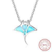 الزرقاء أوبال السمك تصميم 925 فضة المعلقات وقلادة للنساء مجوهرات موضة هدايا عيد (NE102099)