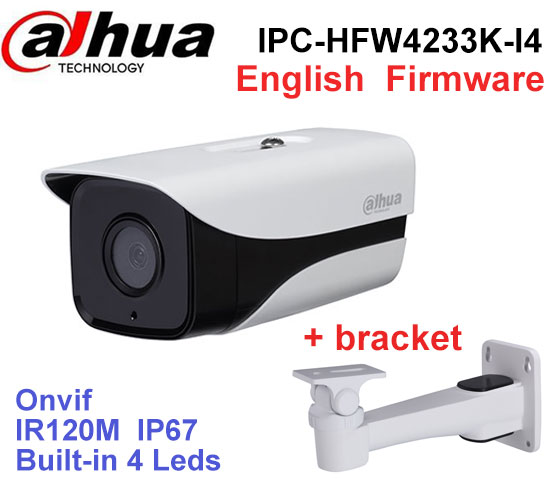 Dahua IP Camera IPC-HFW4233K-I4 2MP Stellar camera built-in 4 leds IR120M DH-IPC-HFW4233K-I4 outdoor cctv camera with bracket ahua 6mp ip camera ipc hfw4631k as i4 ip67 built in 4 leds ir120m with audio