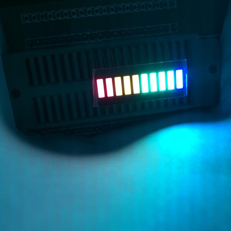 2 pçs led display array 10 segmentos led barra gráfico matriz 10-bargraph barra-gráfico vermelho verde amarelo azul fixo multicolorido 1b4g3y2r
