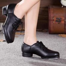 New Arrival PU or Cow Leather Low Heel Lace Up Adult Professional Tap Shoes Black Dance Shoes For Women
