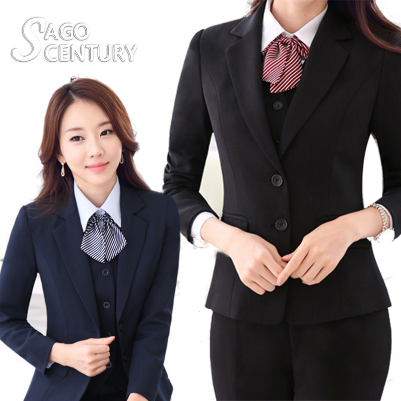 2017 New Slim font b Women b font Work Office Lady Business Feminino Outwear Solid Uniform