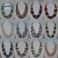 Handmade 12strds similar mix FW pearl mix beads necklace for party gifts