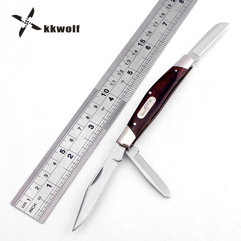 цена на KKWOLF Pocket EDC Folding Knife 3 Blades wood handle Multifunctional Army Knife Outdoor Survival Knife Portable Tactical knives