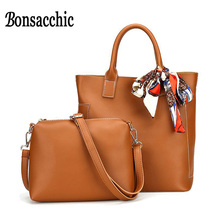 Bonsacchic 2pcs/set Women Handbag Famous Brand Ladies Hand Bags Set Large Capacity Portable Shoulder Tote Bags Female Clutch Sac