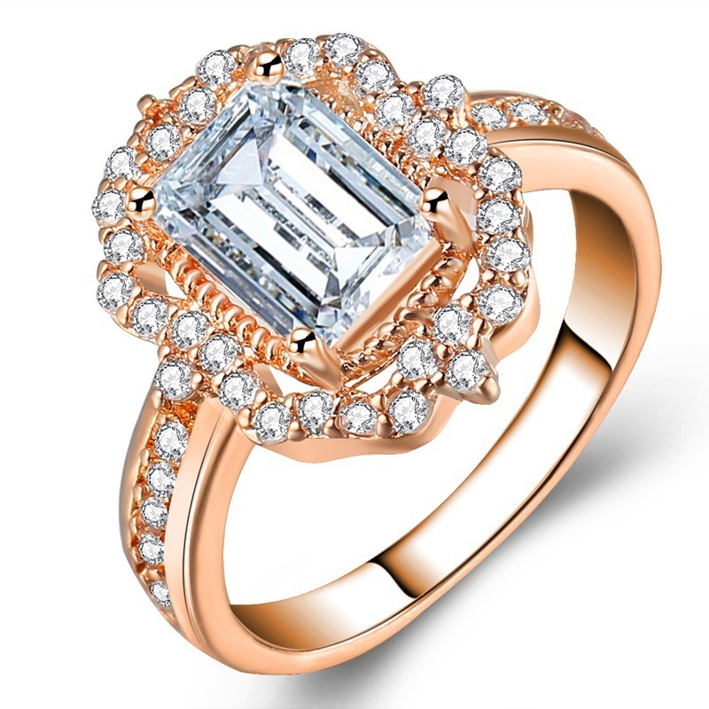 AAA  zircon crystals Square Shape for Wholesale  silvergold Women  Romantic princess Jewelry Engagement Gift wedding ring