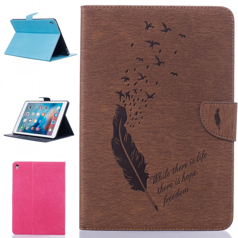 Fashion business Feather Little Bird flower wallet card leather Stand cover Case for ipad pro 9.7 inch pro9.7 with stylus pen