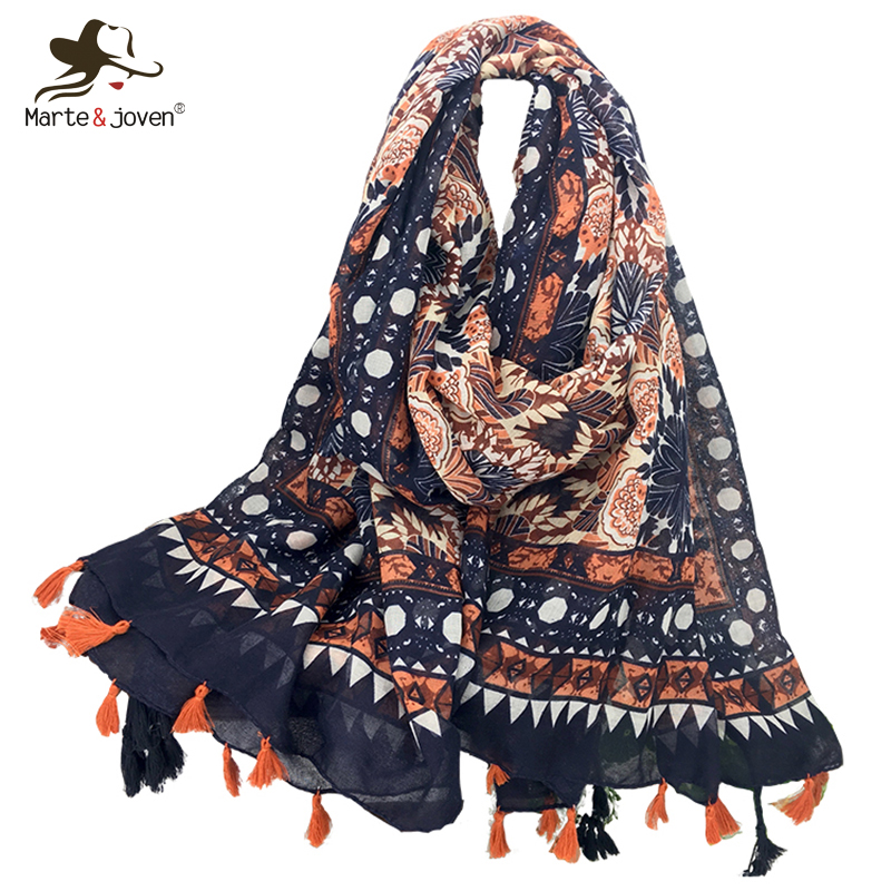 Marte&Joven Ethnic Style Floral Printing Orange   Scarf   Pashmina Fashion Autumn/Winter Oversized Soft Shawls&  Wraps   with Tassels
