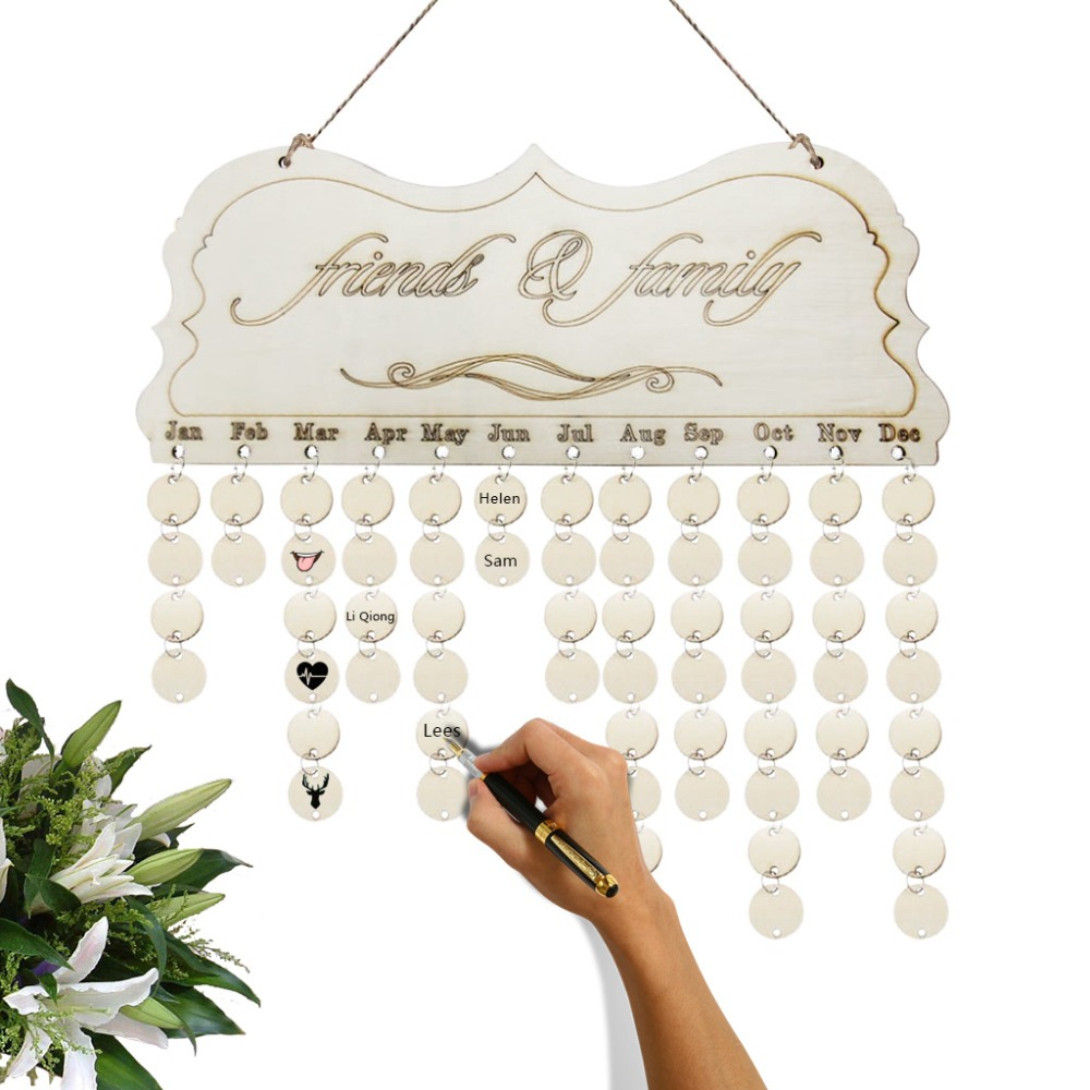 2019 2020 Birthday Calendar Table Desktop  Metal Creative Multifunction Calendar Decorative Gift