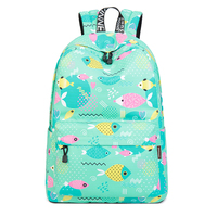 Lightweight Stylish Fish Pattern Printing School Backpack Waterproof Daypack for Girl Fashion Women Backpack