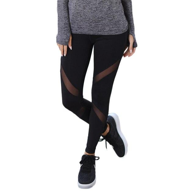 b02aba28b4 Quick-drying Net Yarn Yoga Pants Black High Waist Elastic Running Fitness  Slim Sport Pants