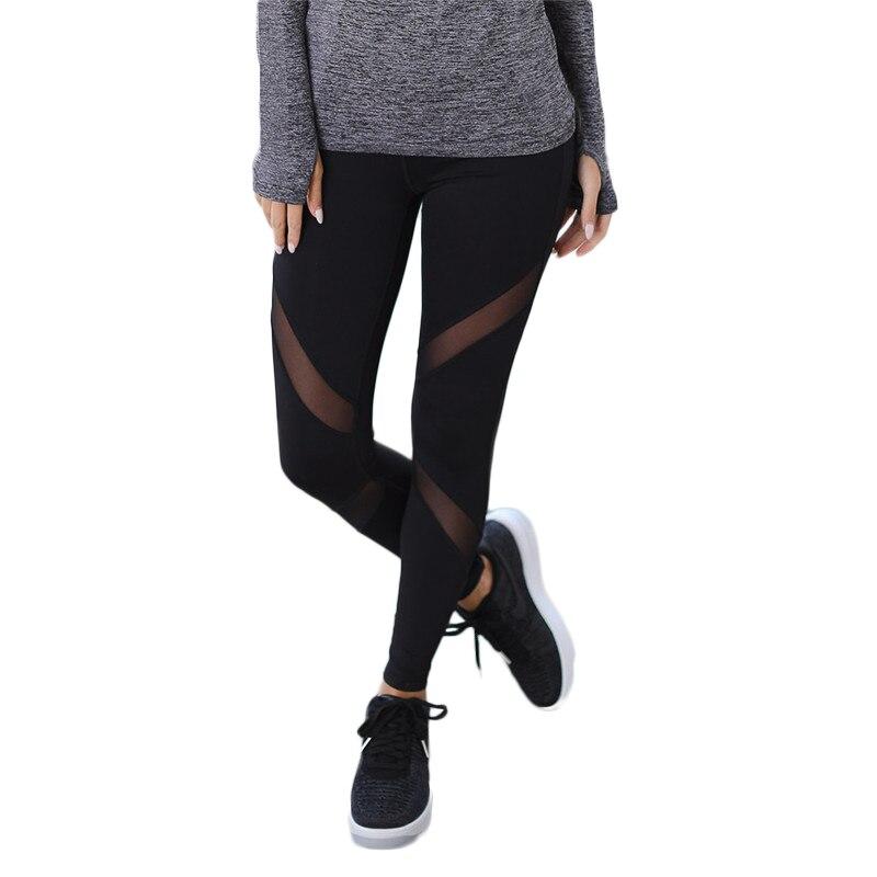 Secado rápido hilado neto pantalones de Yoga negro de alta cintura elástica corriendo Fitness deporte Delgado pantalones Leggings para las mujeres pantalones
