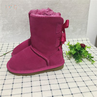 New 2017 EU26 34 Girls Australia Style Kids Snow Boots Cute Bowtie Back Children Winter Out