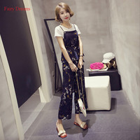 Summer Korean Version Of The New Short Sleeved T Fashion Three Piece Sling Chiffon Wide Leg