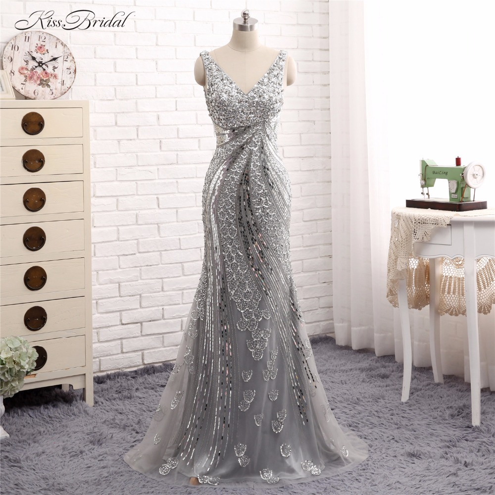 Mermaid   Evening     Dresses   Long Vestido de Festa V Neck Crystal Bead Tulle Formal Prom Party Gown Abendkleider Robe de Soiree 2017