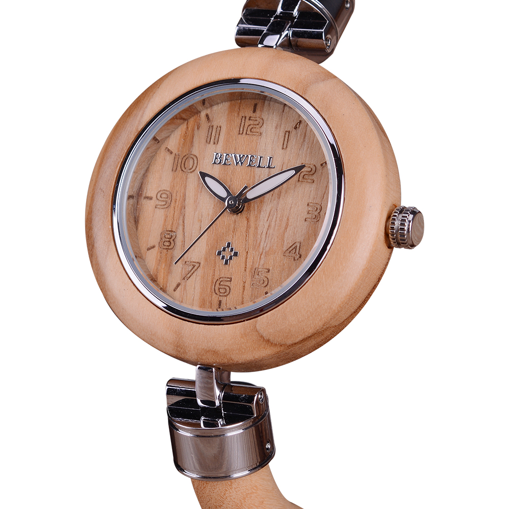 BEWELL Ladies Slimline Wooden Band Quartz Watch