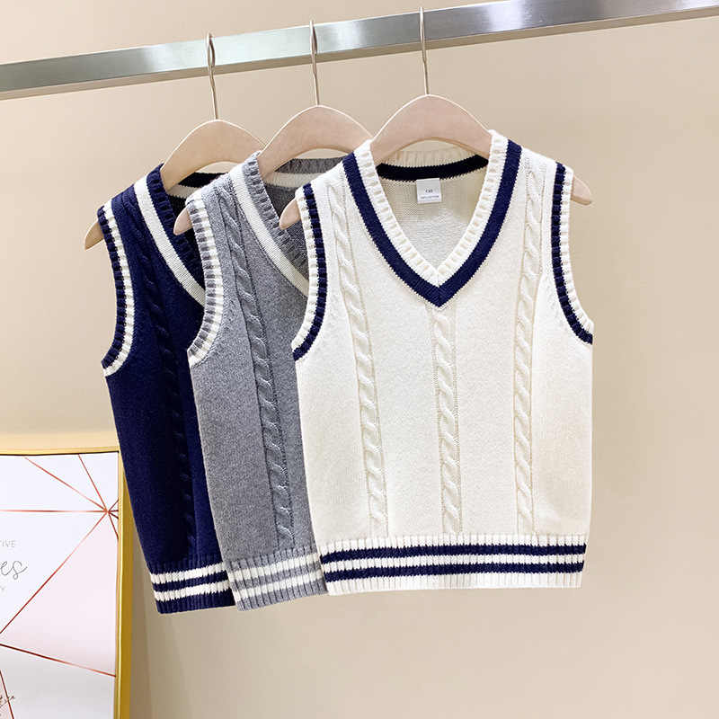 Baby Boys 1-5Y Solid Color V Neck Sweater Vest Sleeveless Pullover Knitted Waistcoat