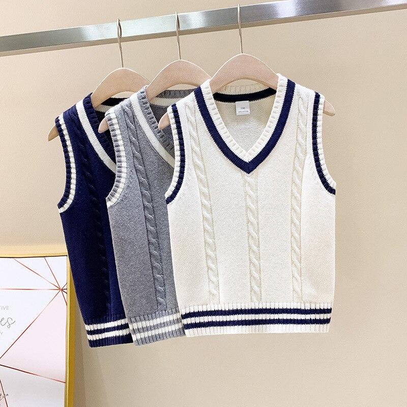 New Boys Girls Knitted Sleeveless V Neck Tank Top Kids School Vest Uniform