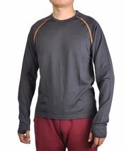 Мужская рубашка из 100% мериносовой шерсти с длинными рукавами, базовый слой, с вырезом лодочкой, дышащая осенне зимняя рубашка с отверстиями для больших пальцев