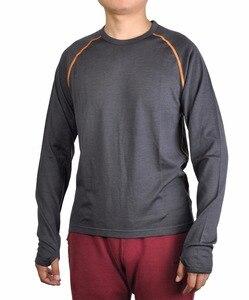 Image 1 - Mens 100% Merino Wool Long Sleeve Shirt Tops Base Layer Crew Out door Lock Thumb Holes Explorer Breathable Autumn Winter
