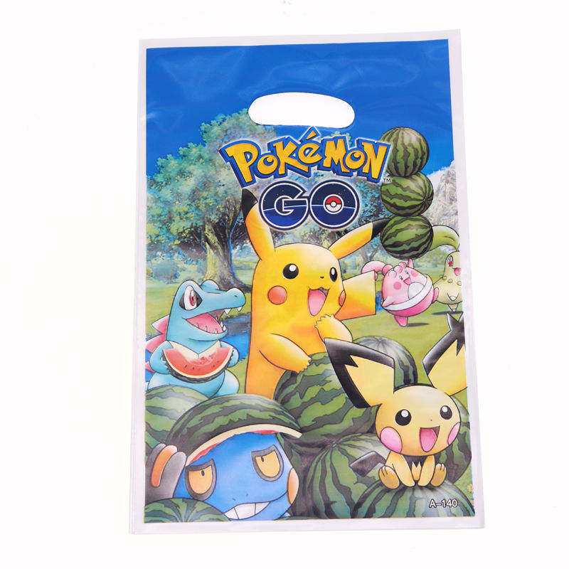 20Pcs/lot Pokemon Theme Party Supplies Cartoon Candy Gift Bags Favor Christmas Birthday Party Decorations Kids For Home Pikachu