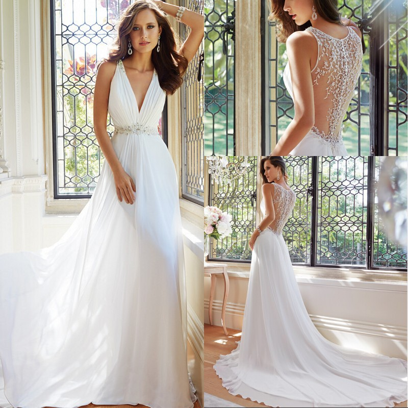 Simple Elegant 2015 Women Summer Wedding Dresses Flowing Chiffon ...