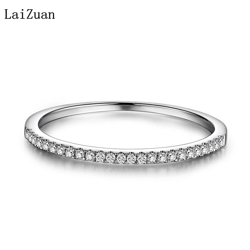 LaiZuan Solid 10k White Gold Certified Round Natural Diamonds Half Eternity Ring Women Engagement Band Trendy Fine Jewelry Gift
