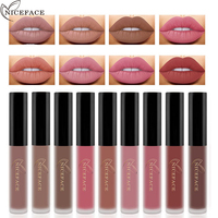 NICEFACE 12 צבעים עיפרון לאורך זמן יופי שפתון מט איפור ליפ גלוס סט איפור קוסמטיקה עירום שפתיים צביעה