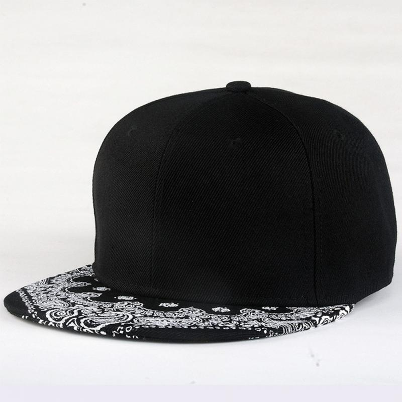 Newest Popular adult snapback hiphopMen hat adjustable baseball cap unisex Cashew flowers Printing Flat Brim hat black cool