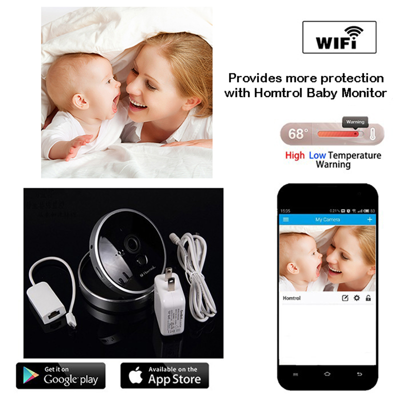 Baby Monitor Wifi IP Camera 2 Mega Pixel Monitor Infants or Kids with Temperature and PIR Sensor supporting 128GB Micro SD