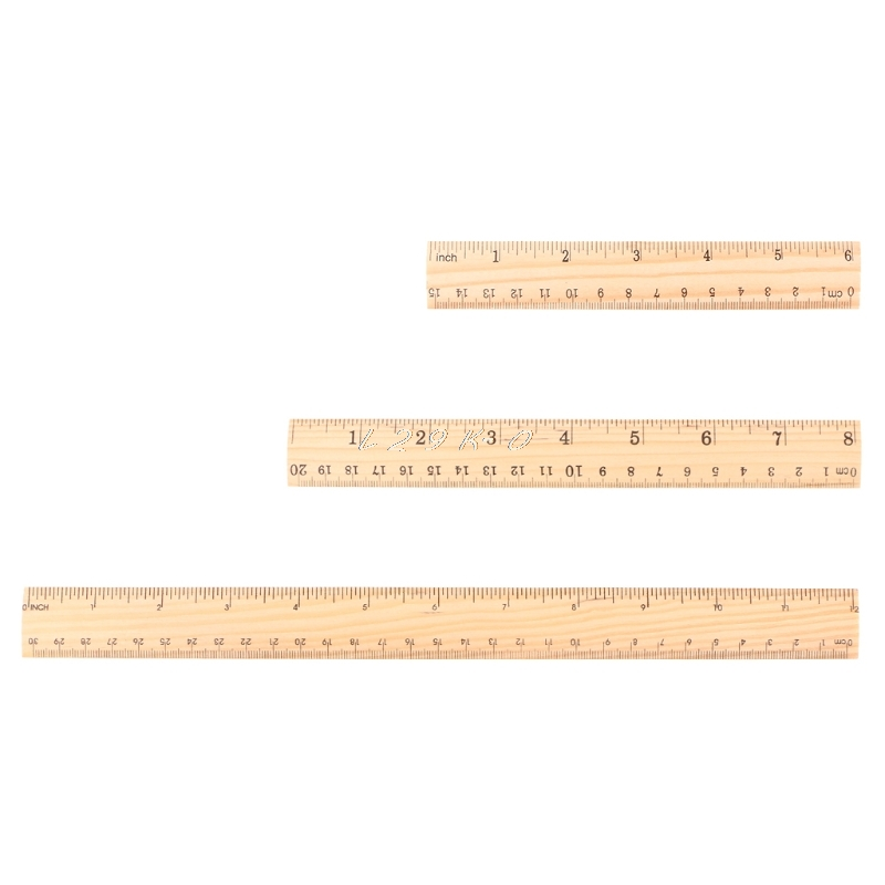 15cm 20cm 30cm Wooden Ruler Double Sided Student School Office Measuring Stationery School Accessories