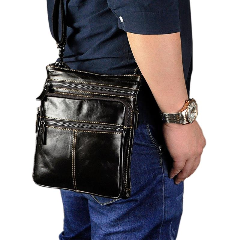 Décontracté Retro hommes 8 pouces tablette téléphone sacs fantaisie en cuir véritable sac à bandoulière sacs solide couleur homme sac en cuir Packs