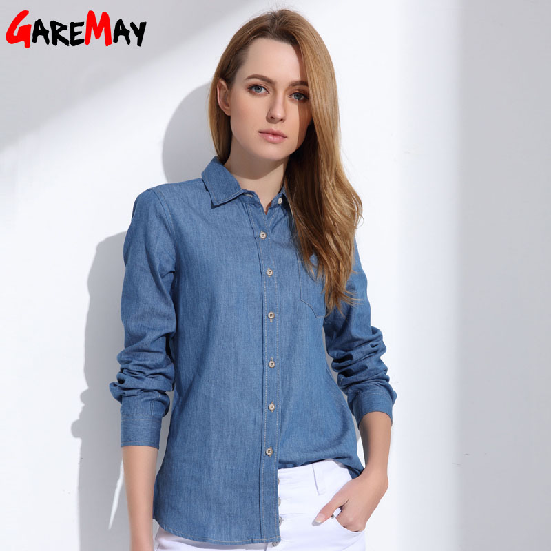 Denim shirt female long sleeve shirt womens denim blouse for Blue denim shirt for womens