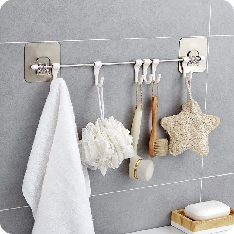 Kitchen Gabgets Cupboard 6 Hook Home Organizer Storage Rack Pantry Chest Tools Towels Hanger Wardrobe Towel