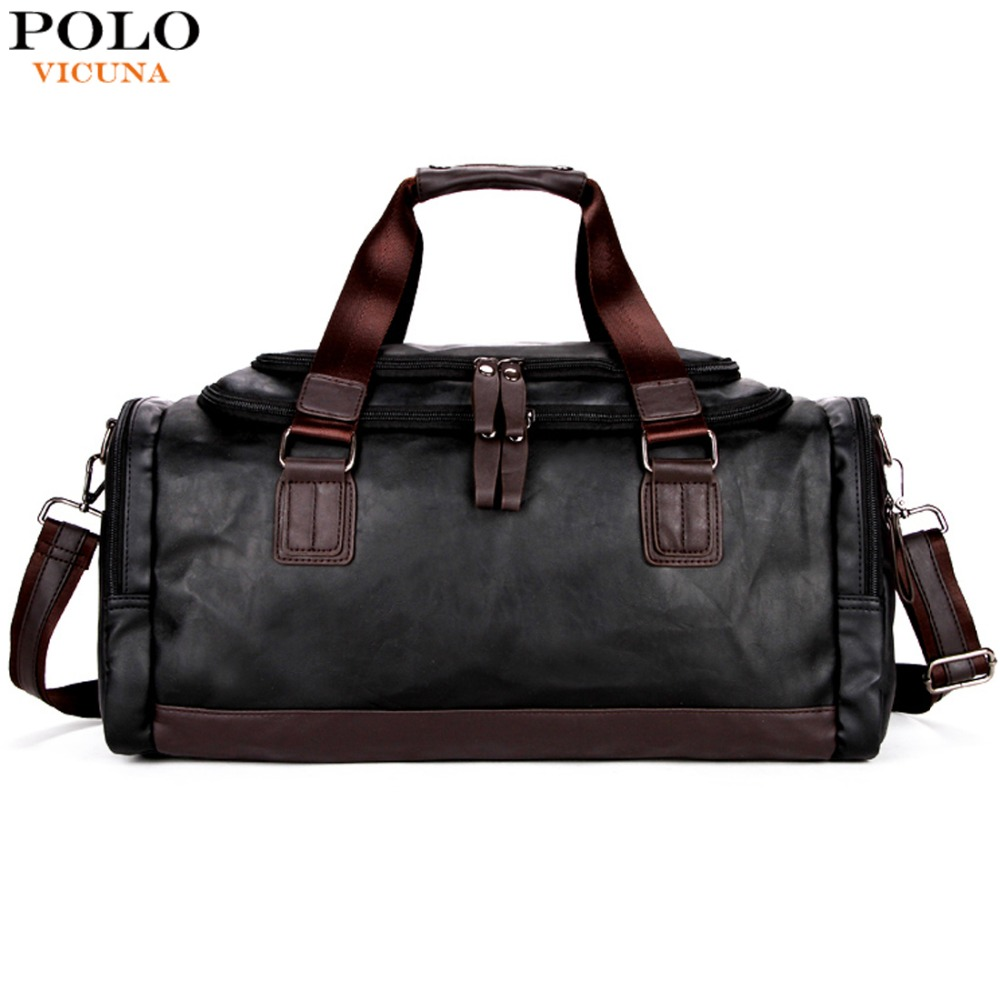 все цены на VICUNA POLO Lrage Capacity Patchwork Men Travel Bag Perfect Quality Man Leather Travel Bags England Style Mens Travel Handbags онлайн
