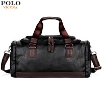 VICUNA POLO Lrage Capacity Patchwork Men Travel Bag Perfect Quality Man Leather Travel Bags England Style