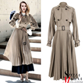 New 2017 British Style Spring Long Pleated Dress Black Beige Lantern Sleeve Shirt Collar Double Buttons With Sashes Dresses 2190
