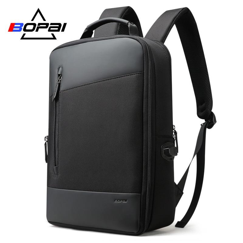 BOPAI нейлоновая кожа для мужчин s Plecak Turystyczny модные бизнес расширяемый мужчин рюкзаки черный Студенческая школьная сумка рюкзак 2018
