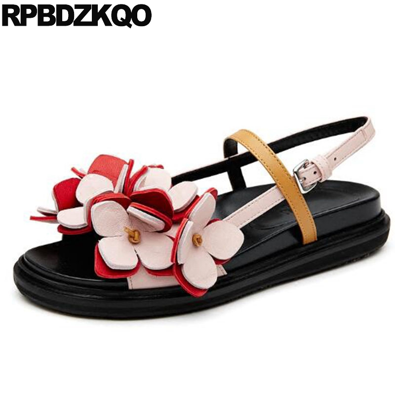 Wide Fit Sandals Cute Flower Genuine Leather Harajuku Slingback Strap Low Heel Wedge Luxury Shoes Women Designer Embellished
