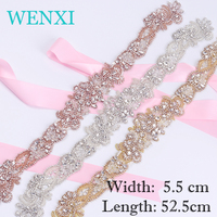 WENXI (1 pcs) Hand Beaded Sewing Rose Gold  Silver Bridal Rhinestones Appliques Patch For Wedding Dresses Headband DIY  Iron On