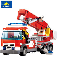 Купить с кэшбэком High Quality Fire Fighting Truck Building Blocks Compatible with LEGO Fire Educational Bricks Toys Fireman DIY Bricks Brinquedo