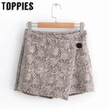 2019 Women Snake Print Short Skirt High Waisted Sexy Mini Skorts Retro High Street Skirt Shorts ruffle trim high waisted high low skirt
