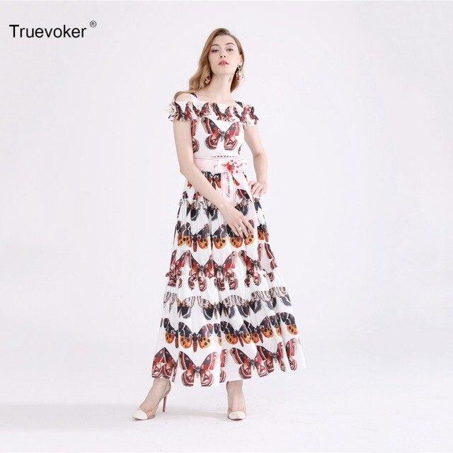 Truevoker Europe Summer Designer Maxi Dress Women s Vintage Multicolor  Butterfly Printed Ruffle Patchwork Strap Dress 4677150c7b
