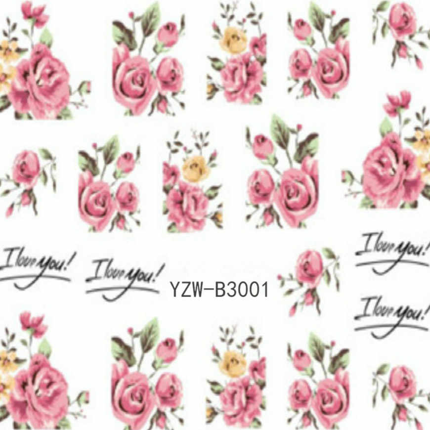 11.11 Rose 1 Pcs Nail Stickers Flowers PPlants Water Decal Cat Pattern 3D Manicure Sticker Nail Art Decoration Sexy Lady #33