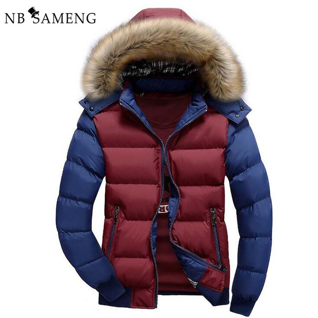 2017 New Fashion Winter Warm Jacket Men Brand Clothing Parka Jackets  Faux Fur Hood Down Coat NSWT172