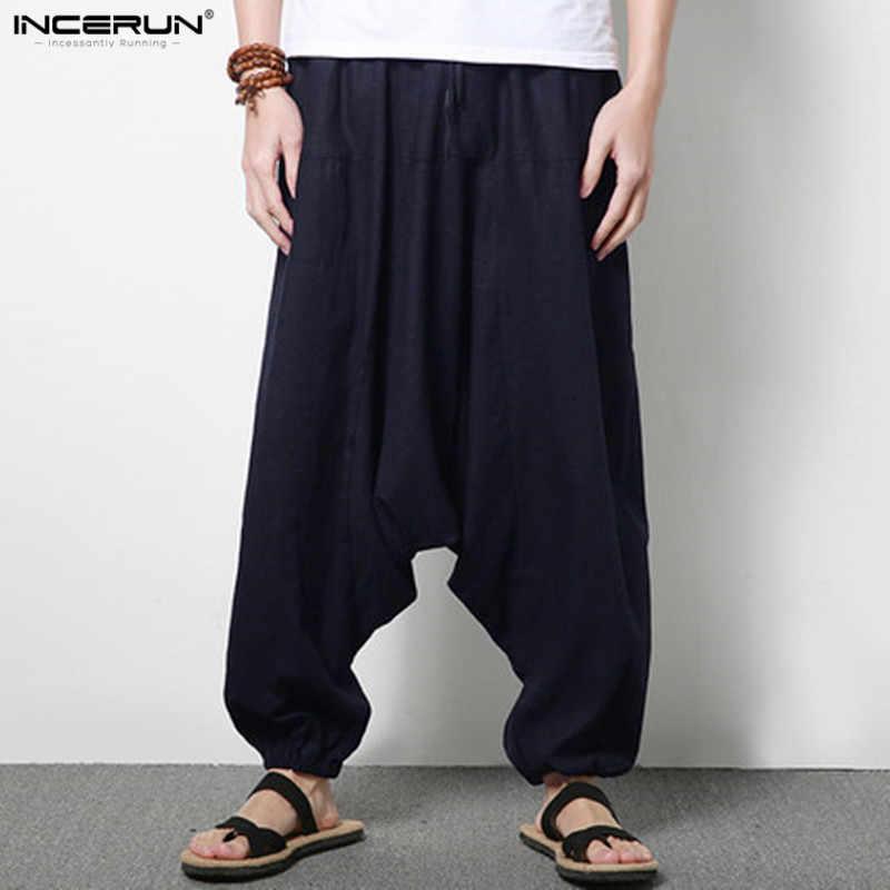 986ebad379c9 ... INCERUN Men Joggers Cotton Indian Harem Pants Men Big Crotch Pants  Nepal Baggy Linen Pants Men ...