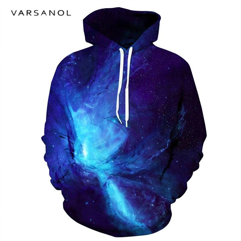 Varsanol Hoodies Hommes/femmes 3D Print Shirts Bleu Starlight À Manches Longues Sweat À Capuche Hoodies de Pull Printemps Automne Lâche Hommes chaude