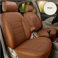 Autotory Genuine Leather Cover Seats Car for Skoda Yeti Seat Covers Cowhide Custom Cushion Supports Accessories Protectors 18PCS